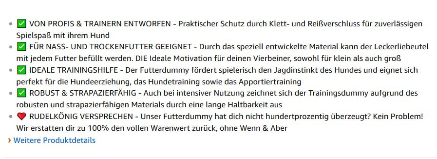 Amazon FBA Listing erstellen Bullet Points 1