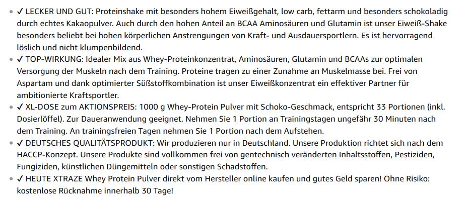 Amazon FBA Listing erstellen Bullet Points 2