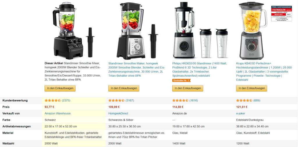 Amazon EBC Vergleichstabelle